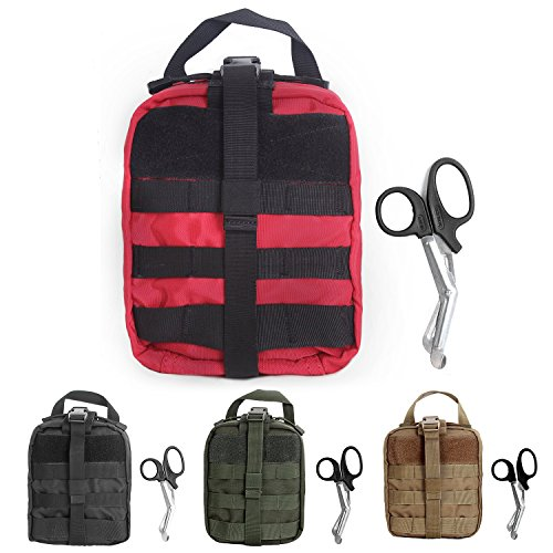 Compact Tactical MOLLE Rip-Away EMT Medical First Aid Utility Pouch 1000D Nylon Carlebben (Red)