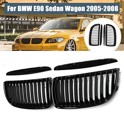 HYSJLS 1 par Glossy Black Car Front Ridney Grille Grill + 2X Alto Hood Párpados for BMW E90 320I 323i 328i 335i Sedan/Wagon 2005-2008 Accesorios de Coche
