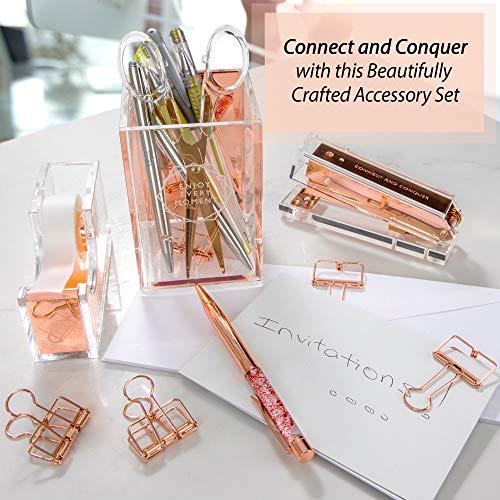 Rose Gold Stapler for Desk - Clear Acrylic Stapler - Cute Stapler for Office Desktop - Designer Stapler - Elegant Desk Accessory - Trendy Novalty Stapler - Pretty Copper Color - Large Lucite Stapler Photo #8