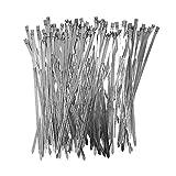 100pcs Heavy Duty 304 Stainless Steel Cable Ties Wrap Coated Self Locking Metal Zip Ties 15.8 inch (Stainless Steel, 15.75 inch)