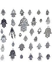 33 قطعة ساحرة من يد فاطيمة فضية التبت رمز لصنع المجوهرات DIY قلادة سوار