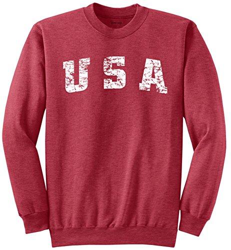 Vintage USA Logo Crewneck Sweatshirt-Large Heather Red