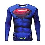 Men's Super-Hero Series Compression Sports Fitness Shirt Quick-Drying Running Tee Super logo-long-AC013-2XL