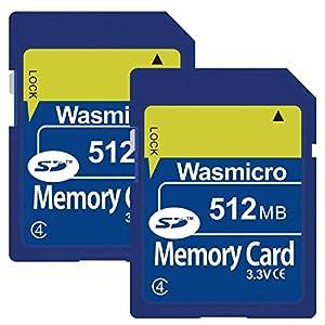 2 Pack Wasmicro 512MB SD Card Standard Flash Memory Card 512 MB Secure Digital Cards C4 2PCS