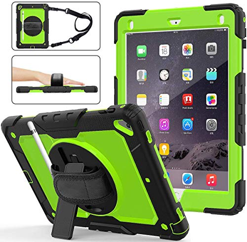 iPad Air 2 Case for Kids | SIBEITU iPad 6th Generation Case with Pencil Holder Screen Protector| Hard Rugged Shockproof Protective Cover w/Stand Handle for iPad 5th Generation case 9.7 Inch Green