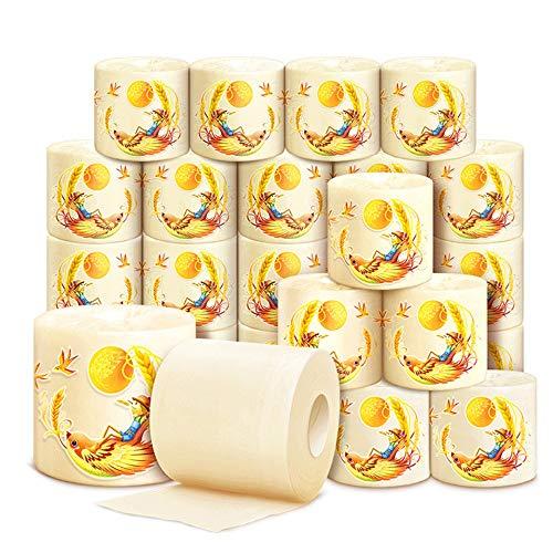 27 Rolls De higiénico de colores naturales de papel, rollo de papel, papel de color natural, del tejido del hogar, no blanqueada de 4 capas de papel higiénico, adecuados for la reserva de emergencia u