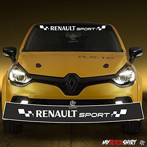 myrockshirt Motorsport Aufkleber kompatibel fürRenault Sport + Blendstreifen 130cm,Keil,Sonnenschutz Rennfahne Clio Sport Rennstreifen +