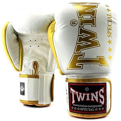 Twins Special Boxhandschuhe, Leder, BGVL-8, weiß-Gold Größe 14 Oz