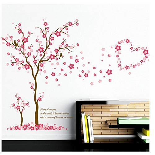 MINGKK - Adhesivo decorativo para pared, diseño de árbol de ciruelas, color rosa