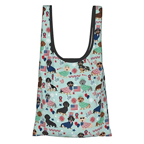 Foldable Reusable Grocery Bags Shopping Tote Bag Eco Friendly Cloth Bags Water Resistant Lightweight Strong-Dachshund July 4th Fourth of July Dog Lite