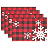 Christmas Red Plaid Snow Snowflake Placemats Set of 4 Table Mat, Red Black Lattice Texture Table mats Placemats Heat-resistant Stain Resistant Washable for Kitchen Dining Decoration 12' x 18'