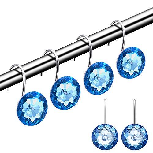 HMYJJ Duschvorhang-Haken, dekorative Strass-Acryl-Kristall-Duschringe, Edelstahl, rostbeständige Haken, Badezimmer, Babyzimmer, Schlafzimmer, Wohnzimmer, Set mit 12 Ringen, Blau