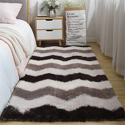 Nicole Knupfer Alfombra Shaggy geométrica patrón de piel de oveja de oveja, cuadrada, mullida, alfombra para salón, habitación infantil (A, 40 x 60 cm)