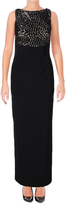 Ralph Lauren Womens Black Sequined Slitted Sleeveless Jewel Neck Full Length Sheath Formal Dress US Size  4