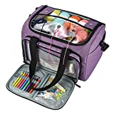 """Knitting Bag, Yarn Storage Organizer Tote for Knitting Needles(Up to 14""""), Crochet Hooks, Circular Needles, Projects and Skeins of Yarn, Purple (Bag Only)"""