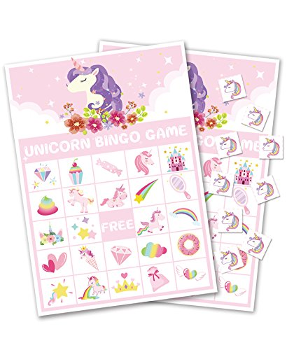 Unicorn Bingo Game Party Supplies - Girls Magical Rainbow Birthday Valentine's Day Favors/Gifts Decorations (24 Players)