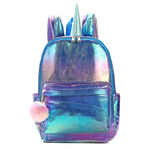 Unicorn Backpack,Holographic Reflection PU School Bag Lovely Large Capacity Casual Bag for Girl Accessories Travel Rucksack Straps - Purple
