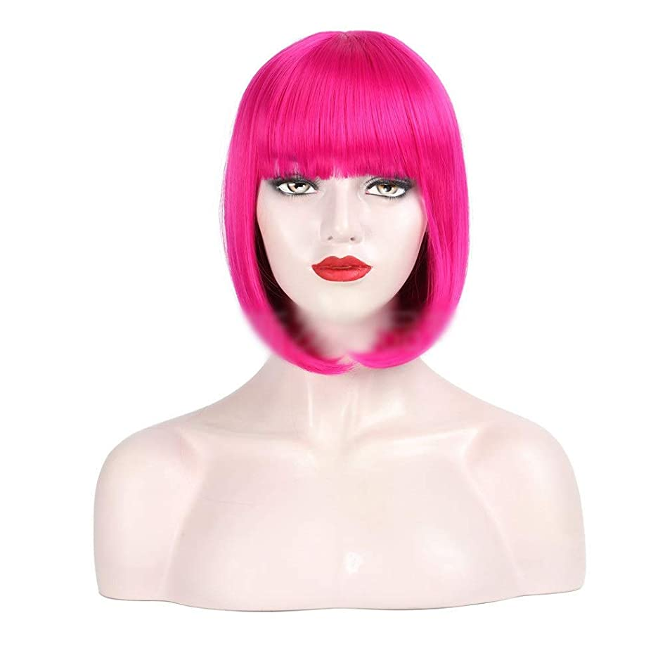 周波数ジャグリング突き刺すかつら 30センチコスプレパーティーウィッグローズレッドボブウィッグふわふわショートストレートヘア用女性パーティーウィッグ (色 : ローズレッド)