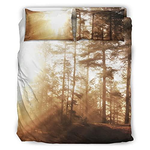 Wandlovers Juego de ropa de cama de 4 piezas, diseño de bosque luminoso, luz solar, para todo el año, funda de edredón, funda de almohada, faldón de cama, blanco, 175 x 218 cm