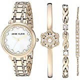 Anne Klein Women's Swarovski Crystal Accented Gold-Tone Watch and Bracelet Set, AK/3488GPST