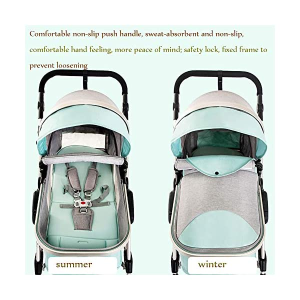 HHRen Multi-Purpose Baby Stroller High Landscape Multi-Function Sitting And Lying Two-Way Four-Wheel Shock Absorber Folding Newborn Child Trolley Baby A,Brown HHRen ✔ The push handle can be adjusted in multiple levels, high-quality linen fabric, stylish atmosphere, water absorption and dirt resistance, and UV protection; bold and thick aluminum alloy frame, waterproof and rustproof; three-sided mesh ventilation, breathable, refreshing ✔ Triple shock absorber: front wheel built-in spring shock absorber, wear-resistant EVA rear wheel, independent frame shock absorber, good shock absorption effect, good grip, strong shock absorber at the root of the frame, durable And good flexibility ✔Exquisite design, better safety performance: one-button release of the seat belt, the armrest can be opened, the rear storage bag, the enlarged storage basket, the non-slip thickened pedal 7