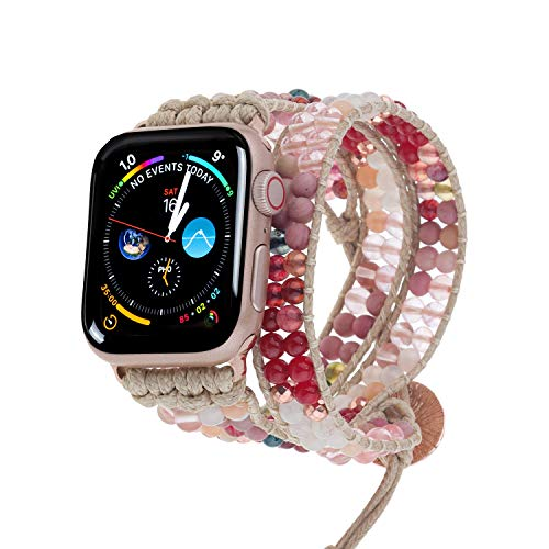 PLTGOOD 3 Wrap Bead Bracelet Watch Strap Compatible with Apple Watch Band 38mm 40mm,42mm 44mm for Women Men, handmade wristband Adjustable Replacement Watch Band for Iwatch SE Series 6/5/4/3/2/1