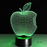 Lámpara de noche con luz 3D, forma de manzana 3D Cambio de color LED Lámpara de mesa de luz de noche Lámpara de noche Lámpara de noche Novedad Niño Niño Regalo de vacaciones