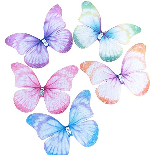 Chenkou Craft Mix Bulk 20pcs 2'(50mm) Organza Butterfly Two Layers Ribbon Flowers Bows Craft Wedding Ornament Appliques (Organza Butterfly)