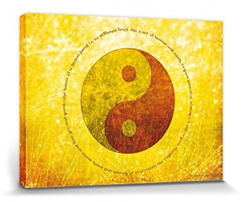 1art1 Ispirazione - Cielo E Terra, Acqua E Fuoco, Yin E Yang Stampa su Tela (80 x 60cm)