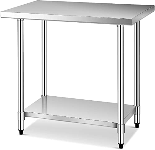 Giantex 36 x 24 Inches NSF Stainless Steel Work Table, Commercial Kitchen Prep Work Table with Galvanized Shelf, Adjustable Plastic Feet, Heavy Duty Work Prep Table for Kitchen, Restaurant