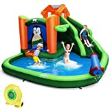 BOUNTECH Inflatable Water Slide, 6 in 1 Jumping Bounce House w/ Climbing Wall, Splash Pool, Water Cannon, Basketball Rim, Including Oxford Carry Bag, Repair Kit, Stakes, Hose (with 735W Air Blower)