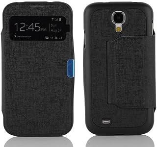 Cadorabo Samsung Galaxy S4 Funda de Cuero Sintético Ventana en Negro ÓXIDO Cubierta Protectora Estilo Libro con Cierre Magnético, Función de Suporte y una Ventana– Etui Case Cover Carcasa