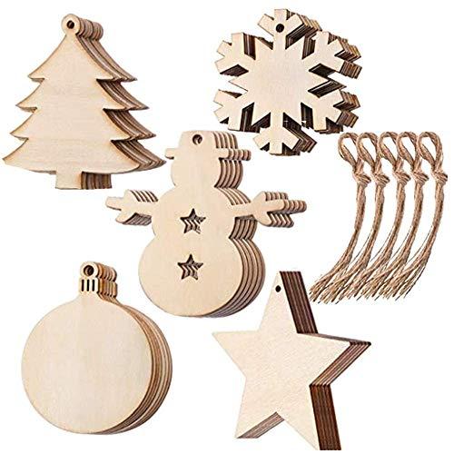 Johiux 50 Decorazioni Natalizie in Legno Grezzo, Decorazioni Natalizie Fai da Te, Regali di Natale, Albero di Natale, Stella...