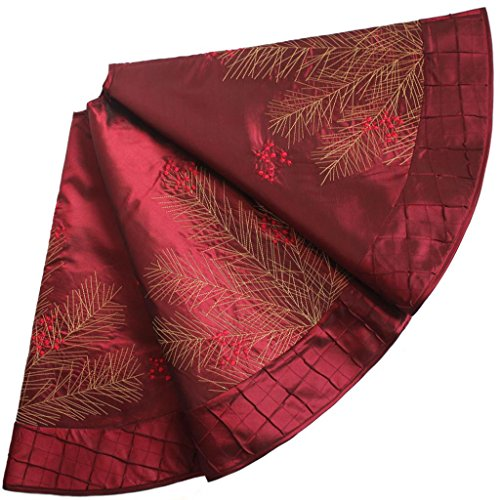 """SORRENTO Deluxe Embroidered Pine Branches Cherry with Pintuck Border,Extra Large ,Christmas Tree Skirt-50"""""""