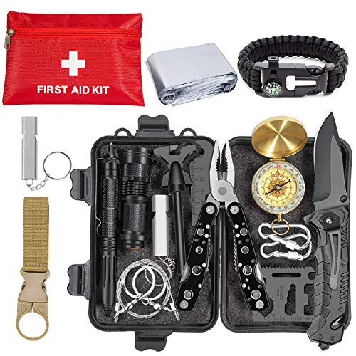 Emergency Survival Kit 36 in 1, Survival Gear Tool Kit SOS Survival...