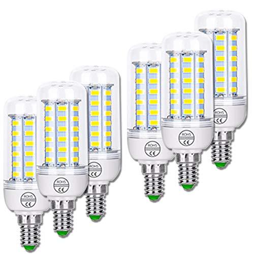 ZJING E27 LED Daylight Corn Lamp 3W-15W, 1500W Equivalente Lámparas de Ahorro de Energía, 360 Grados de Luz, 1500 Lumens Edison Bulbs, No Flickering Non Dimmable, 6 Pack,E14 Cool,7W