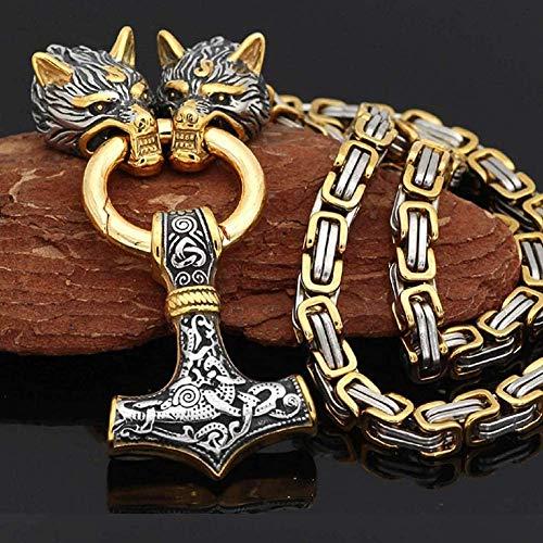 Colar de martelo do Thor Vikings, presentes para homens, de aço inoxidável, com pingente de mitologia nórdica Mjolnir e corrente bizantina