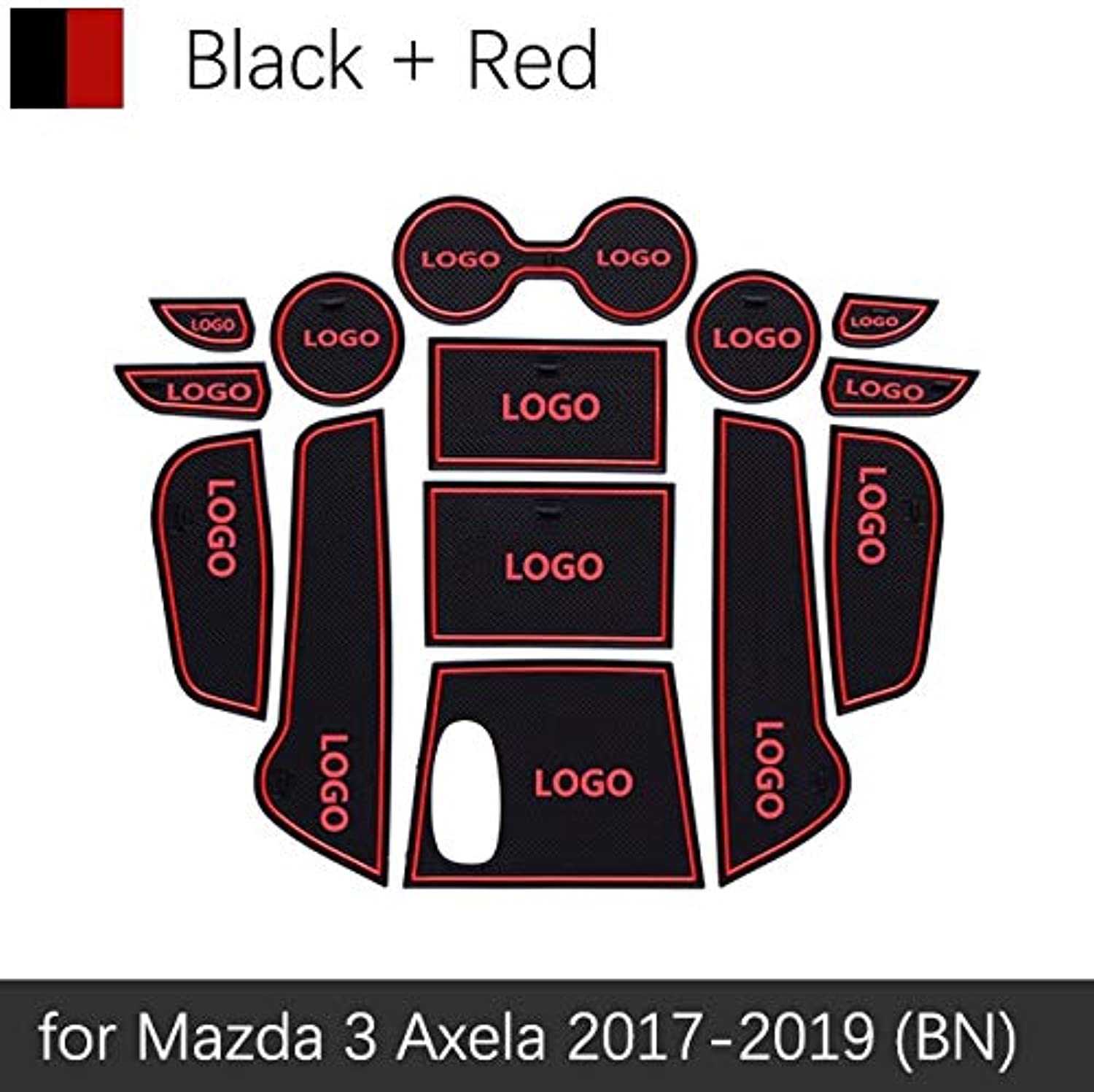 AntiSlip Gate Slot Mat Rubber Coaster for Mazda 3 BN Axela 2017 2018 2019 Facelift Mazda3 MK3 Accessories Car Stickers 14Pcs  (color Name  Red)