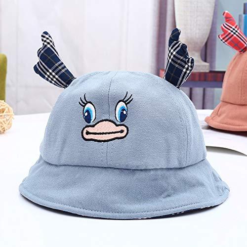 mlpnko Kleine gelbe Ente Cartoon Becken Hut Neue Kinder Sonnenhut Kinder Hut Flut Version Fischer Hut hellblau 48-52cm Baby
