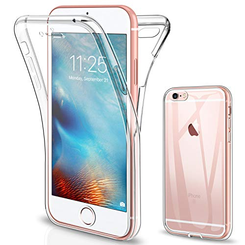 SOGUDE Coque pour iPhone 6s Etui, pour iPhone 6 Coque Transparent Silicone TPU Case Intégral 360 Degres Full Body Protection Coque Housse pour iPhone 6 / 6s