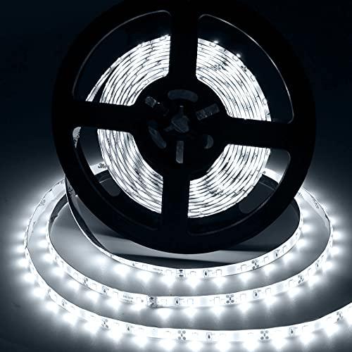 Aigostar - Tira LED de 5 metros, luz blanca 6500K, tira LED flexible, IP65 impermeable. Luces LED autoadhesiva para decorar e iluminar el dormitorio, salón, cocina, el cuarto infantil o muebles.