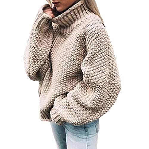 Dasongff - Jersey de punto para mujer, cuello alto extra-large beige