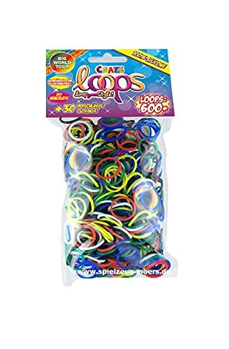 Original CRAZE LOOPS 600er Refill Pack Mix Silikon Craze-Loops -verschiedene Farben Mega US Trend - Craze Loops Loop your style (Big World Tour Farbmix)