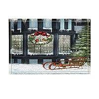 Assanu クリスマスの鳥のモミの小枝リボン装飾付きガラス窓付き雪風呂敷きでいっぱい滑り止め玄関床玄関屋内玄関マット子供用バスマット15.7x23.6in