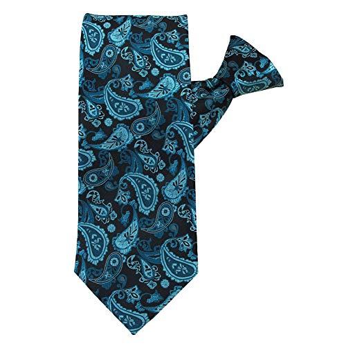 Jacob Alexander Men's Paisley Beauty Extra-Long Clip-On Neck Tie - Teal