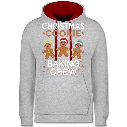 Weihnachten & Silvester - Christmas Cookie Baking Crew - 3 Kekse - XL - Grau meliert/Rot - Keks - JH003 - Hoodie zweifarbig und Kapuzenpullover für Herren und Damen