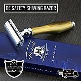 Maquinilla de afeitar de seguridad de níquel y cuerno de imitación (cuchillas no incluidas).