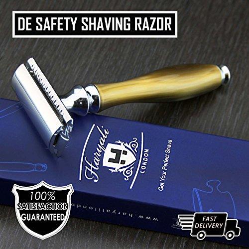Cuerno de imitación y maquinilla de afeitar de seguridad de níquel (cuchillas no incluidas).