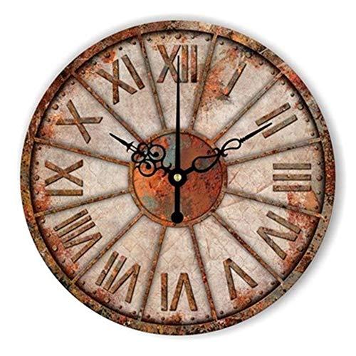 FOOSKOO Wall Clocks Horloge Murale Style rétro Vintage Vintage muet Grande Horloge Murale Montre Shabby Chic Home Decor Salon 16 Pouces / 40 cm (Conception : I)