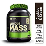 Optimum Nutrition Serious Mass, Mass Gainer Whey, Proteines Musculation Prise de Masse avec Vitamines, Creatine et Glutamine, Cookies & Crème, 8 Portions, 2.73 kg
